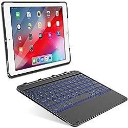 Yoozon iPad 9,7 Clavier Bluetooth avec Étui Détachable, Coque Clavier sans Fil Amovible, AZERTY Français Keyboard de 7 Couleurs LED Rétro-éclairé pour iPad 2017(5th Gen)/iPad 2018(6th Gen)/iPad Air 1