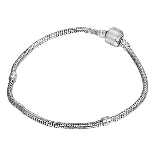HOUSWEETY 2 Pcs Bracelet en Cuivre Chaine Maille Serpent pour Femme Homme 14CM