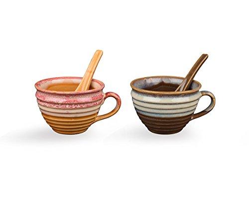Store Indya, Handgefertigte Set von 2 Keramik Suppenschalen mit Griff für Abendessen Nudeln Getreide Salat Salsa Pasta Snacks mit Loffel Weiß & Rosa Tasse Muslischalen Kuche Tabletop Serveware