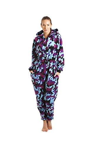 Combinaison pyjama à capuche en polaire - femme - Fuchsia/bleu - taille 38 à 52 Bleu