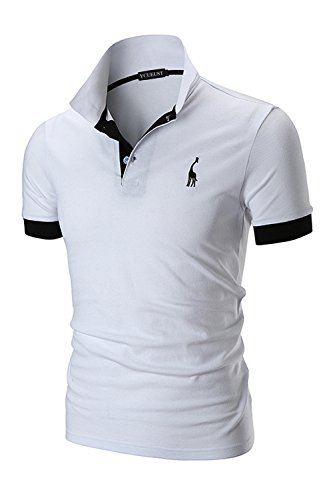 YCUEUST Hommes Cotton Basic Manche Courte Casual Polo Tennis...