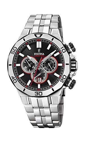Festina Unisex Erwachsene Chronograph Quarz Uhr mit Edelstahl Armband F20448/4