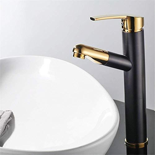 twasserhahn Retro Wasserhahn Kupfer Wasserhahn Kupfer Schwarz Plus Gold Runde Einlochmontage Bad Wasserhahn Warm- und Kaltwasserhahn Waschbecken Waschtischmischer, B ()