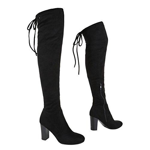 Overknee Stiefel Damen Schuhe Klassischer Stiefel Pump Moderne Reißverschluss Ital-Design Stiefel Schwarz 6029-GG