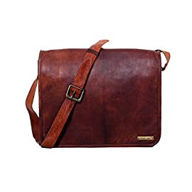 15 Inches Handmade Vintage Leather Messenger Laptop Bag, Handmade Craft Full Flap Leather Bag – Free Surprise Gift