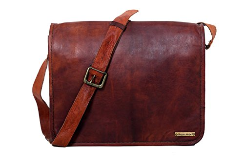- 41lhIrCX9xL - 15 Inches Handmade Vintage Leather Messenger Laptop Bag, Handmade Craft Full Flap Leather Bag – Free Surprise Gift