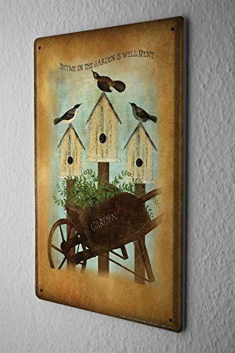 Garden Wall Plate (8x12 Retro Tin Sign Wall Decor Plate Garden Birds Bird House Metal Wall Plate)