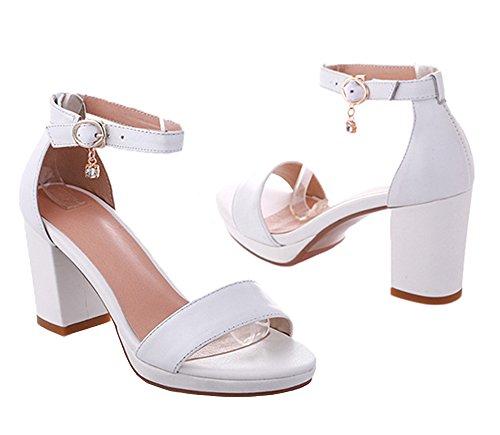 Dayiss Knöchelriemchen Leder High Damen Sommer Sandaletten Weiß Sandalen Blockabsatz Heels 1UrZ6Wq1