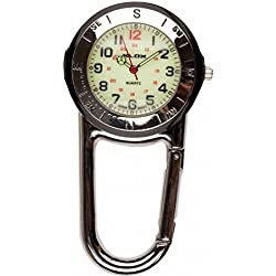 Silver Clip On Fob Watch with Black Accents Luminous Carabiner Nurse, Paramedic, Doctors etc.