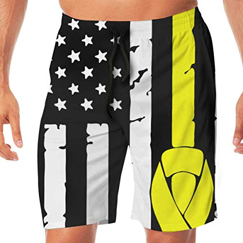 Mens Swim Suits Osteosarcoma Cancer Awareness USA Flag-1 Summer Vacation Beach Board Short with Pocket,XL -