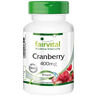 fairvital - Cranberry 400mg - Rich in Proanthocyanidins - Without Additives - 90 Vegetarian Capsules by fairvital