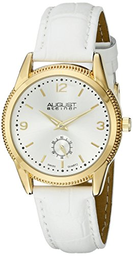 August Steiner Women's AS8021WTG Yellow Gold Swiss Quartz Watch with Silver Sunray Dial and White Leather Strap