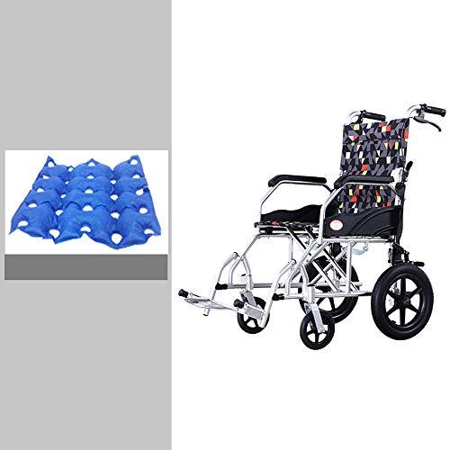 NoNo Ultraleichter zusammenklappbarer Aluminium-Transit-Reiserollstuhl,rutschfeste Handläufe,Standbremsen,rutschfeste manuelle Felgen/Fußpedale,ältere Menschen Behinderte Roller Trolley