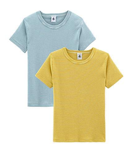 Petit Bateau Jungen Unterhemd Tee Shirt MC_4813900 2er Pack, Mehrfarbig (Variante 1 00) 104