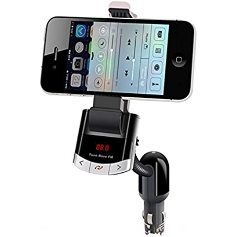 Spesso bt8118fmtransmitter Bluetooth Car Kit con caricatore USB e MP3Player nero