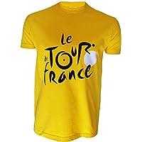 Le Tour de France -Camiseta oficialdel Tour de Francia, talla de adulto, para hombre, Le Tour de France, color amarillo, tamaño small