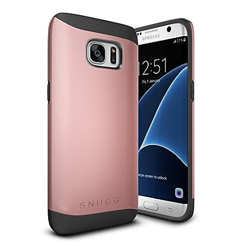 Coque Galaxy S7 Edge, Snugg Samsung Galaxy S7 Edge Double Couche Case Housse Silicone [Bouclier Légère] Etui de Protection – Or Rose, Infinity Series