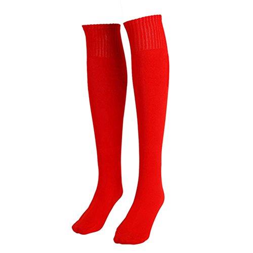 verlike Unisex Fußball Uni Lange Socke Sport Knie Hohe groß Hockey Fußball Rugby Vorrat, rot -