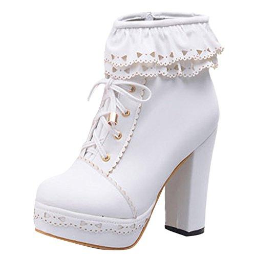 Oasap Femme Boots A Lacet Talons Hauts Talons Bloc Dentelle Zip Blanc