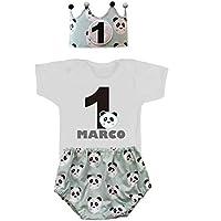 Conjunto primer cumpleaños 1 año personalizado con el nombre del niño pandas color verde mint (Body o Camiseta + Corona + Cubrepañal)