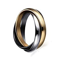 FOXI YOUTH 3MM Womens Stainless Steel Tri Color Interlocked Rolling Band Wedding Love Ring for Girl Silver Gold Black