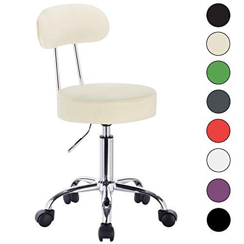 WOLTU® 1 x Drehhocker Arbeitshocker Praxishocker Bürostuhl Rollhocker Stuhl Drehstuhl Hokcer mit Lehne und Rollen Creme BH34cm-1-a