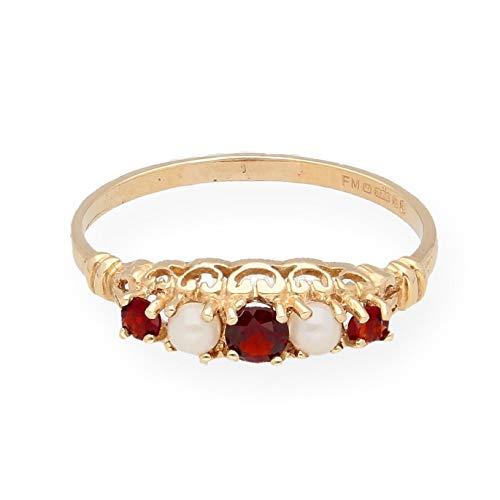 Ewigkeitsring 9 Karat (375) Gelbgold Granat Perle 5 mm breit (Silber Ring Ewigkeit Granat)