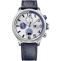 TOMMY HILFIGER Jackson Men's Quartz Watch with Silver Dial Analogue Display and Blue Stainless Steel Strap 1791240