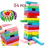 RVM 54 Pcs Colored Wooden Blocks Tumbling Stacking Building Tower Game with 4