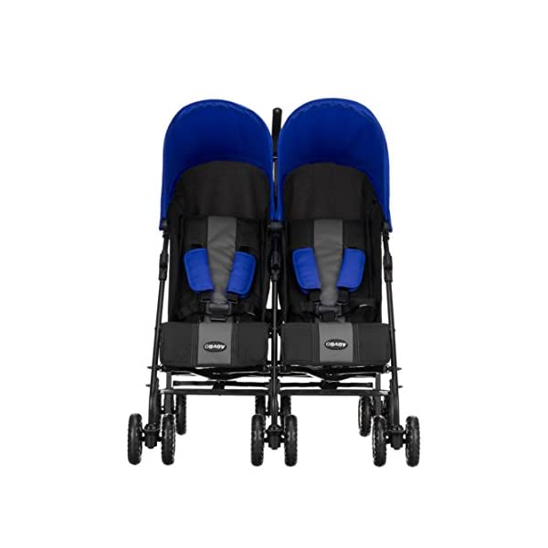 Obaby Apollo Twin Stroller (Blue) Obaby Suitable from birth to a maximum weight of 15kg Independently adjustable multi position seat units Independently adjustable hoods 3