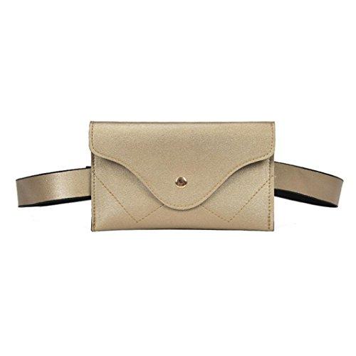 Winkey Brust Tasche, Fashion Frauen Solid Splice Leder Messenger Schultertasche Taille Pack Handtasche, Gold, 19cm(L)*3cm(W)*12cm(H)/7.48(L)*1.18(W)*4.72(H)