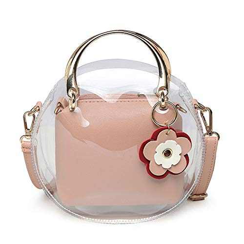 Frühlingsfrauen UmhängetascheMode tragbare Messenger transparente Tasche, 16 × 6,5 × 20 cm, rosa