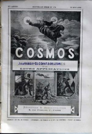COSMOS [No 174] du 26/05/1888 - REVUE DES SCIENCES TOUR DU MONDE - LA BIERE ET LA QUALITE DES EAUX EMPLOYEES DANS LES BRASSERIES - LES OTARIES - LES CHEMINS DE FER EN ITALIE - TRISECTION DE L'ANGLE - OBSERVATOIRE LICK EN CALIFORNIE - LES MATIERES VENENEUSES - DIFFRACTION DU SON - LES MONTRES ET LE MAGNETISME - A. CAUCHY.