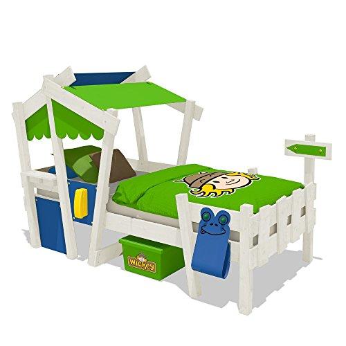 WICKEY Kinderbett CrAzY Candy Jugendbett 90x200cm mit Lattenboden, blau-apfelgrün + weiße Farbe