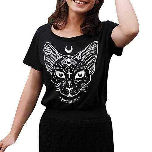 Punk Kostüm Katze - Gothic T-Shirt Damen Punk Hippie Shirt Piebo Steampunk Schwarz Bluse O-Ausschnitt Top Kurzarm Shirt Kleid Moon Katze Drucken Hemd Mode Freizeit Casual Oberteil Streetwear Cosplay Kostüm