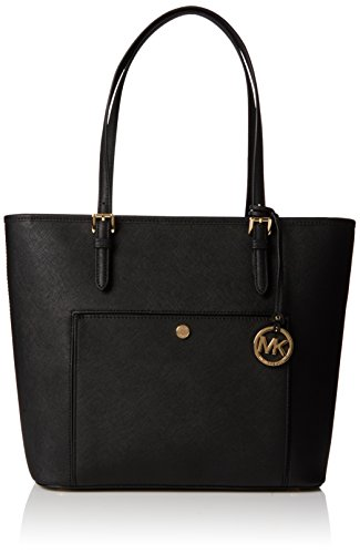 Michael Kors Damen Jet Set Large Top-Zip Saffiano Leather Tote, Schwarz (Black), 15x29x37 centimeters (Schwarze Michael Kors Große Handtaschen)