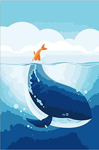 Suubboo Malen nach Zahlen Rahmenlose Digital-Gemälde Nach Zahlen Red Tail Wal Ölgemälde Nach Zahlen Wal Cute Wassertier Children's Painting 40X50Cm