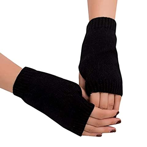 Saingace gloves Frauen Mädchen Strick Arm Fingerlose Warm Winter Handschuhe Soft Warm Handschuh (Schwarz)