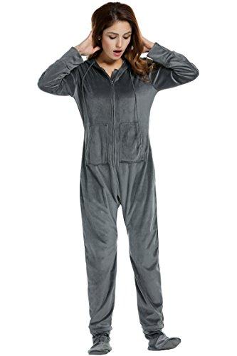 Strampelanzug Einhorn Kostüm - UNibelle Damen Schlafanzug Jumpsuit Erwachsenenstrampler Schlafoverall Pyjama Grau L
