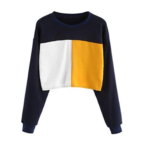 Damen Sweatshirt,Dasongff Mode Frauen langes Hülsen-Sweatshirt Patchwork-beiläufige Oberseiten-Bluse O-Ausschnitt Kurzer Abschnitt Langärmeliger T-shirt (XL, Marine) (Weste Motiv Baumwolle)