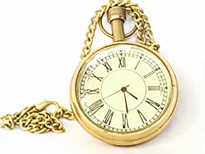MHE Brass Vintage Roman Pocket Watch for Men and Women (Gold)