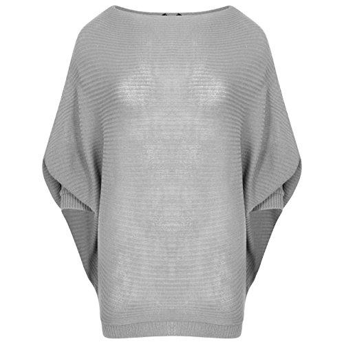 T-shirt à manches longues en maille de coton Taille 36-46 Gris