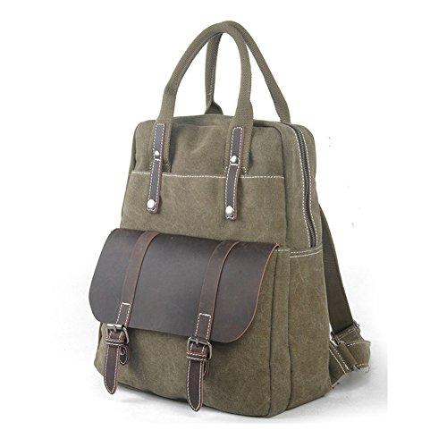 YAAGLE Neu Retro-Tasche Handtasche Aktentasche Rucksack Reisetasche Laptoptasche-armee-grün armee-grün