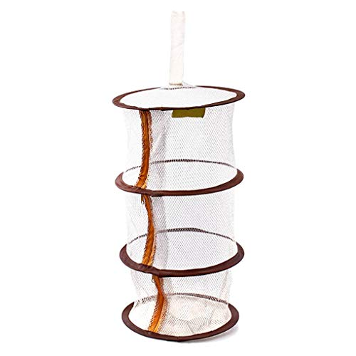Busirde Reißverschluss Bra Trocknungskorb 3-Schicht Hanging Netz-Ineinander greifen-Speicher-Korb-Beutel-hängenden Käfig Kleidung Bra Drying Organizer Kaffee 26 * 88cm - 3 Regal-pullover-organizer