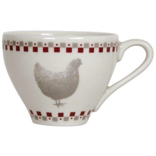 Novastyl 4060179 Lot de 6 Tasses à Thé Gallina Grès Rouge/Blanc 22 cl