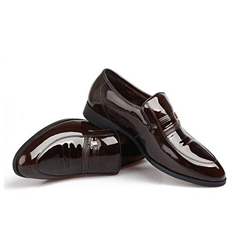 Scarpe Uomo Cuoio Affari Vestiti Inghilterra Punta Set Di Piedi Più Cashmere Scarpe Aumentate FlatHairBrown