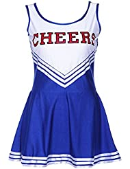 SODIAL(R) Robe debardeur Pom pom girl cheer leaders bleu costume deguisement S(30-32)