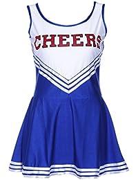 SODIAL(R) Robe debardeur Pom pom girl cheer leaders bleu costume deguisement S(30-32)