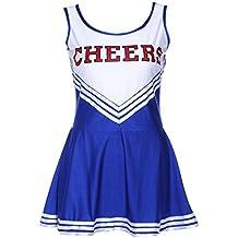 SODIAL(R) Vestido sin mangas Azul Vestido de animadora chica de pom-pom Vestido de lujo L (38-40)