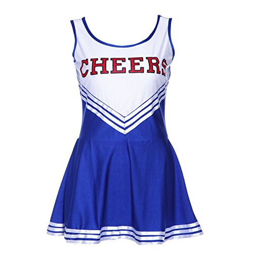 TOOGOO(R) Robe debardeur Pom pom girl cheerleaders Bleu costume deguisement L(38-40)